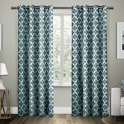 """Exclusive Home Neptune Grommet Top Curtain Panel Pair 96-Inch Teal 96"""""""