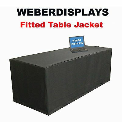 Weberdisplays Black 6 Ft Long X 30 in Deep X 29 in High Fitted Table Jacket T...
