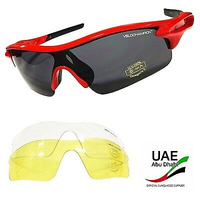 VeloChampion Warp Red Cycling/Sports Sunglasses (with 3 lenses)