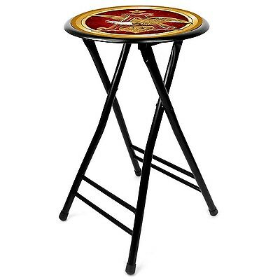 Trademark Global Anheuser Busch A and Eagle Cushioned Stool Black 24-Inch
