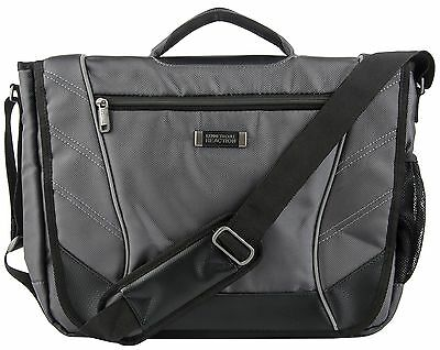 Kenneth Cole Single Gusset Flapover Computer Messenger Gray/Black Under Seat