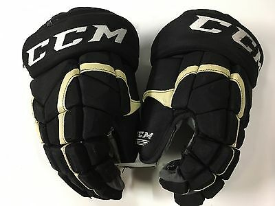 "#24 PITTSBURGH PENGUINS CCM HG12 Black Gold Pro 14"" Game Used Worn Hockey Gloves"