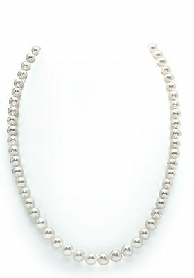14K Gold 7-8mm White Freshwater Cultured Pearl Necklace 16 Inch Choker Length