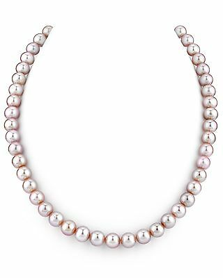 14K Gold 7-8mm Pink Freshwater Cultured Pearl Necklace 18 Inch Princess Length
