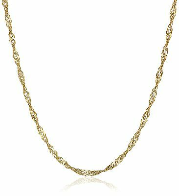 Klassics 10k Yellow Gold 1.35mm Solid Singapore Chain Necklace 22 inches