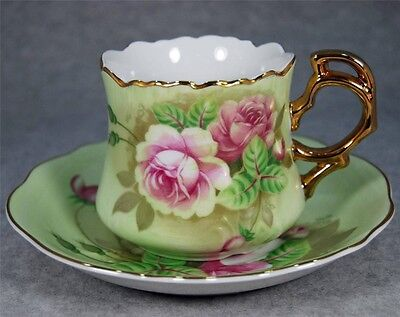 Lefton Hand Painted Green Heritage w/ Pink Roses Tea Cup & Saucer Made in Japan