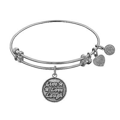 """Antique White Smooth Finish Brass """"Live Love Laugh"""" Angelica Bangle"""