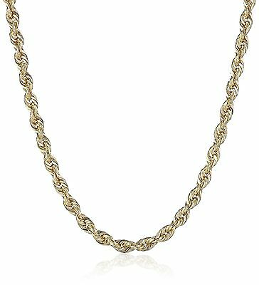 14k Yellow Gold Hollow Diamond-Cut Rope Chain Necklace (2.5mm ) 18 inches
