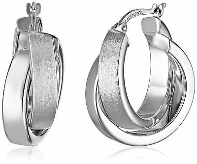 14k Gold Satin and Polished Crossover Hoop Earrings white-gold