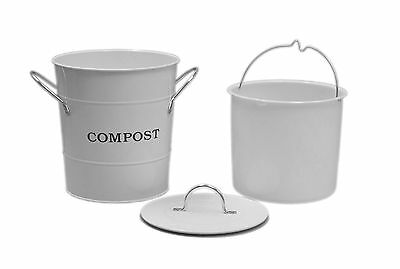 Exaco Trading Company CPBW01 2-in-1 Indoor Compost Bucket 1 Gallon White