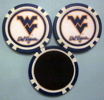 LOT 2 West Virginia Mountaineers University Poker Chip Magnets Locker FridgeDoor