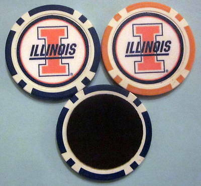 LOT 2 Illinois Fighting Illini University Poker Chip Magnets Locker Fridge Door