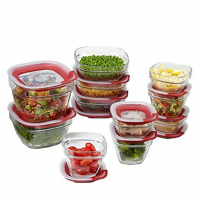 Rubbermaid Easy Find Lids Glass Food Storage Container 22-piece Set Red (1865...