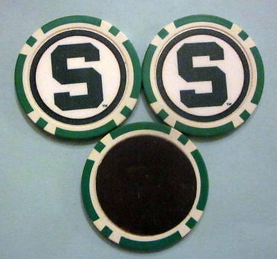 LOT 2 Michigan State Spartans University Poker Chip Magnets Locker Fridge Door