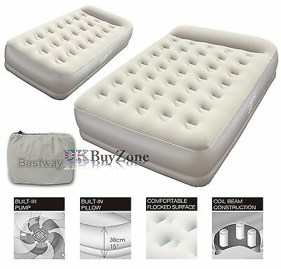 Premium Raised Queen or Single Air Bed Inflatable Camping Airbed Built-In Pump
