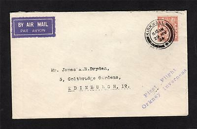 1934 Orkney - Inverness First Flight Cover + Air Mail Label