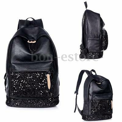 Women Travel Leather Handbag Sequins Backpack Rucksack Shoulder School Book Bag