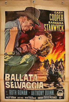 """POSTER G. COOPER B. STANWYCK Blowing Wild """"Ballata Selvaggia"""" Italy 1955 2F/2Sh"""