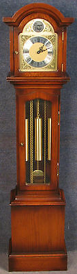 Period Style Oak Brass Dial Grandaughter Clock With Westminster Chimes