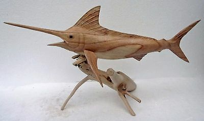 Unusual Hand Carved Wooden Marlin Large Carved Marlin 58cm