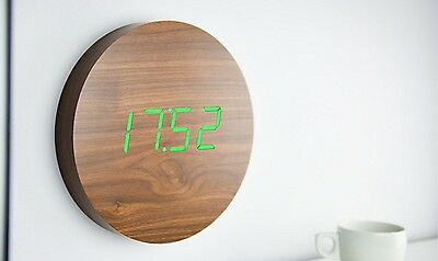 Gingko Walnut Sound Activated Alarm Wall Click Clock with Green LED Display
