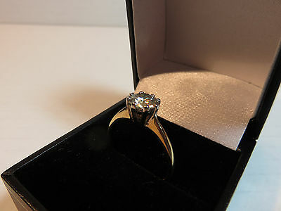GENUINE MOISSANITE DIAMOND SOLITAIRE 9 CARAT SOLID YELLOW GOLD RING 6.7mm vs2 N
