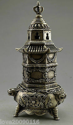 Collectible Decorate Old Handwork SilverPlate Copper Tower Dragon Incense Burner
