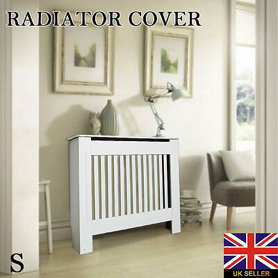 Painted Radiator Cover Cabinet Vertical Modern Style Slats White MDF Small
