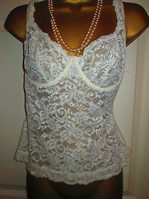 Vintage St. Michael cream stretch lacy underwired cami/bra. Size 38B