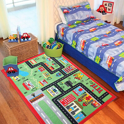 Children's Green Town Roads Rugs Bedroom Kids Floor Girls Boys Play Mats Carpets
