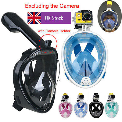 100% Breath Full Face Mask Surface Diving Snorkel Scuba for GoPro Swim Tools UK