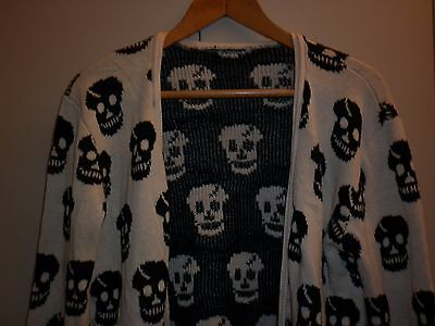 Vintage Cotton Funky Skull Motif Knit Cardigan Small Excellent Condition
