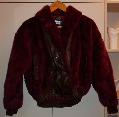 Vintage Maroon Fake Fur And Pvc  Battle Jacket Excellent Condition