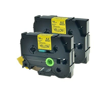 """2PK Black on Yellow Label Tape TZ641 TZe641 For Brother P-touch PT-1880 3/4"""""""