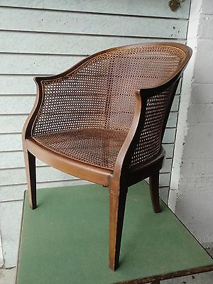 Antique Edwardian Mahogany Bergere Armchair Cane Occasional Chair