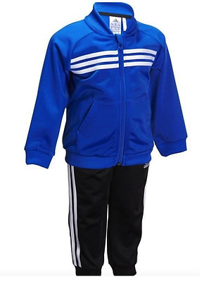 Adidas Tracksuit Kids Boys Toddler Polyester Blue Black 9-12 Months New £19.99