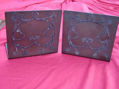 Antique Arts & Crafts Signed Heintz Bronze Sterling Silver Inlay Bookends.
