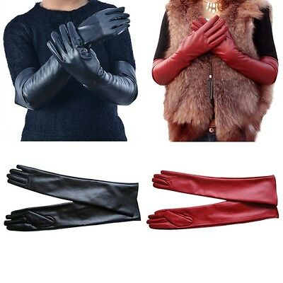 New Lady Women Long Faux Leather Gloves Elbow Evening Opera Long Gloves M L XL
