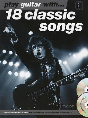 Play Guitar with 18 Classic Songs TAB Music Book/2CDs Play-Along Backing Tracks