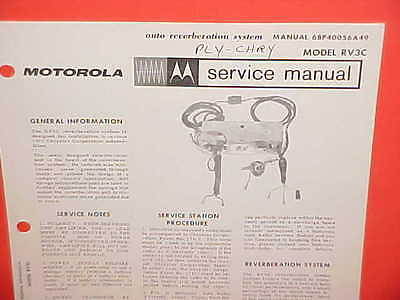 1963 Chrysler Imperial Dodge Plymouth Motorola Reverberation Service Shop Manual