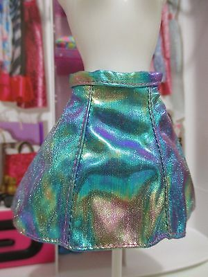 Barbie Doll Clothing FASHIONISTAS ADD ONS! colorful blue metallic skirt