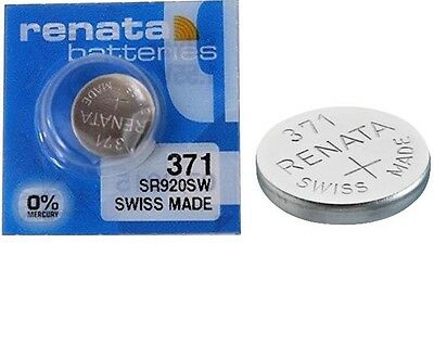 Renata 370/371 SR920W Watch Batteries x1 Swiss Made Cell Button Sil-Oxide 1.55v