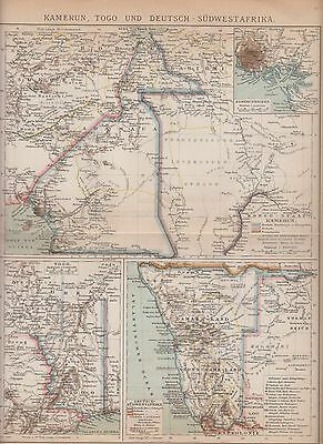 c. 1890 GERMAN SOUTH WEST AFRICA NAMIBIA CAMEROON TOGO Antique Map