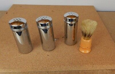 3 chrome containers from 1950's from gents grooming set including shaving brush.