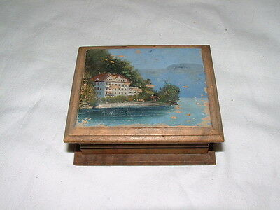 Hinged Wooden Stamp Box with Alpine Lakeside Scene