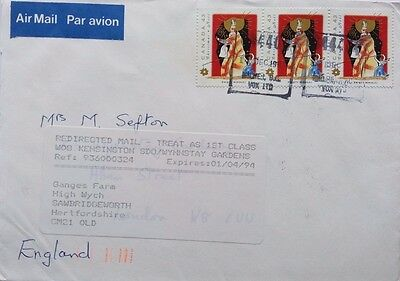 Great Britain 1994 Cover From Australia + Redirected Mail Label Sawbridgeworth
