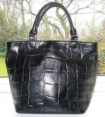 Authentic Vintage Mulberry Black Congo Leather Hellier Hand Grab Bag