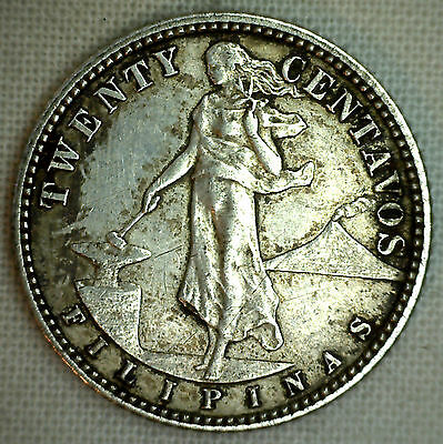 1916 S Philippines 20 Centavos Silver XF Coin Hammer Anvil Eagle #P