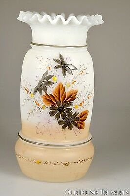 4Q 1800s Victorian BRISTOL style Hand Painted Floral Deco OPAQUE Ruffled Vase