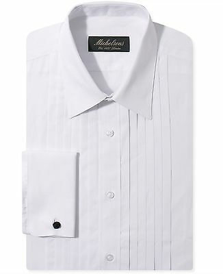 $275 MICHELSONS Men's SLIM-FIT WHITE FRENCH-CUFF TUXEDO DRESS SHIRT 16.5 32/33 L